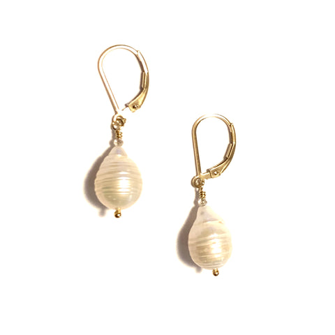 Solid Design Studios Small Ringed Baroque Pearl Earrings With Labradorite on 14k Gold Fill