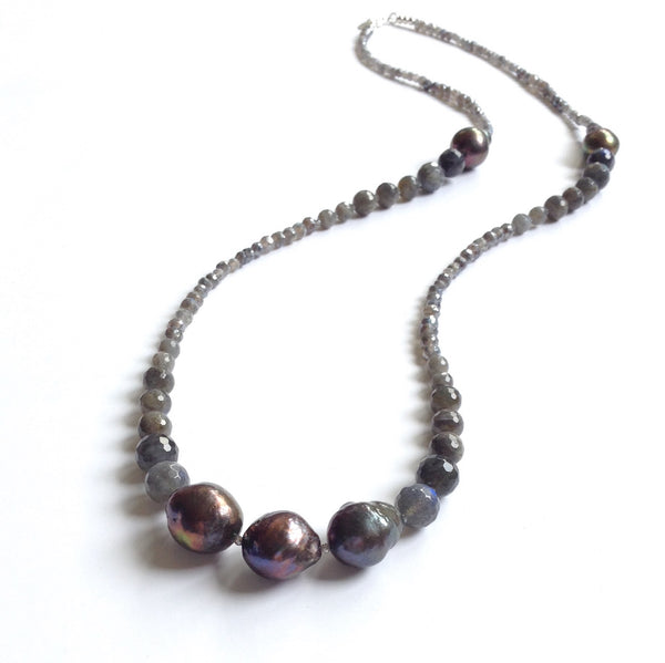 Solid Design Studios Cecilia Faceted Labradorite & Ultra Baroque Peacock Pearl Necklace
