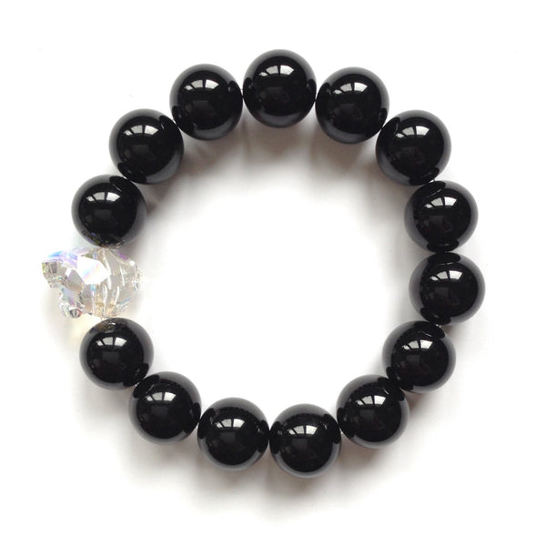 Solid Design Studios Swarovski Crystal Panther With Onyx Stretch Bracelet