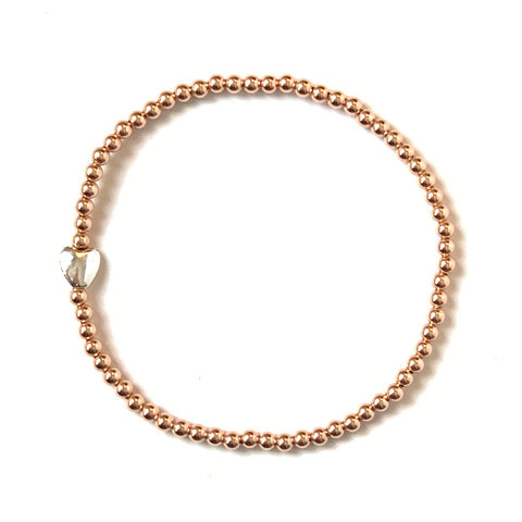 Solid Design Studios Sterling Silver Heart & Rose Gold-Filled Stretch Bracelet