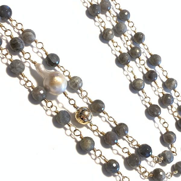 Solid Design Studios Faceted Labradorite, Ultra Baroque Pearl & 14k Gold-Filled Infinity Necklace
