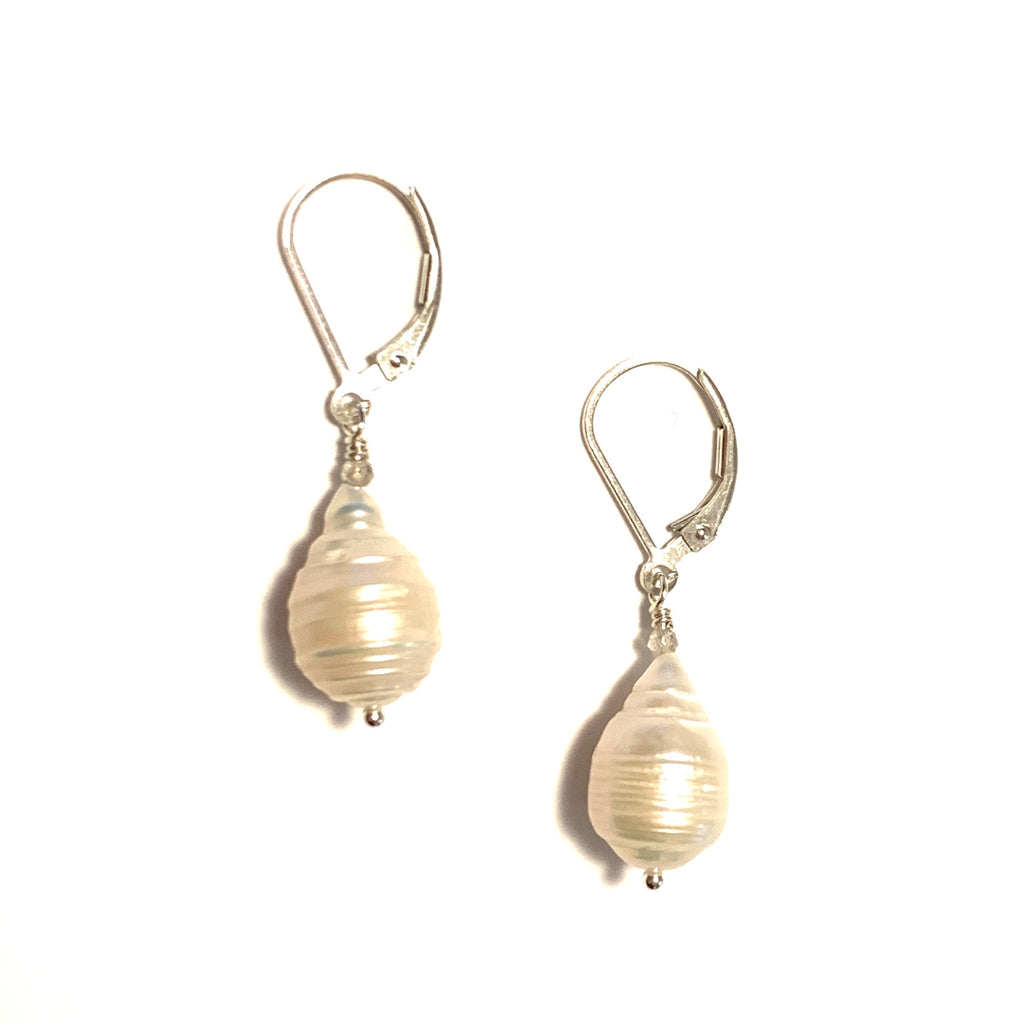 Small Ringed Baroque Pearl Earrings With Labradorite on Sterling Silver