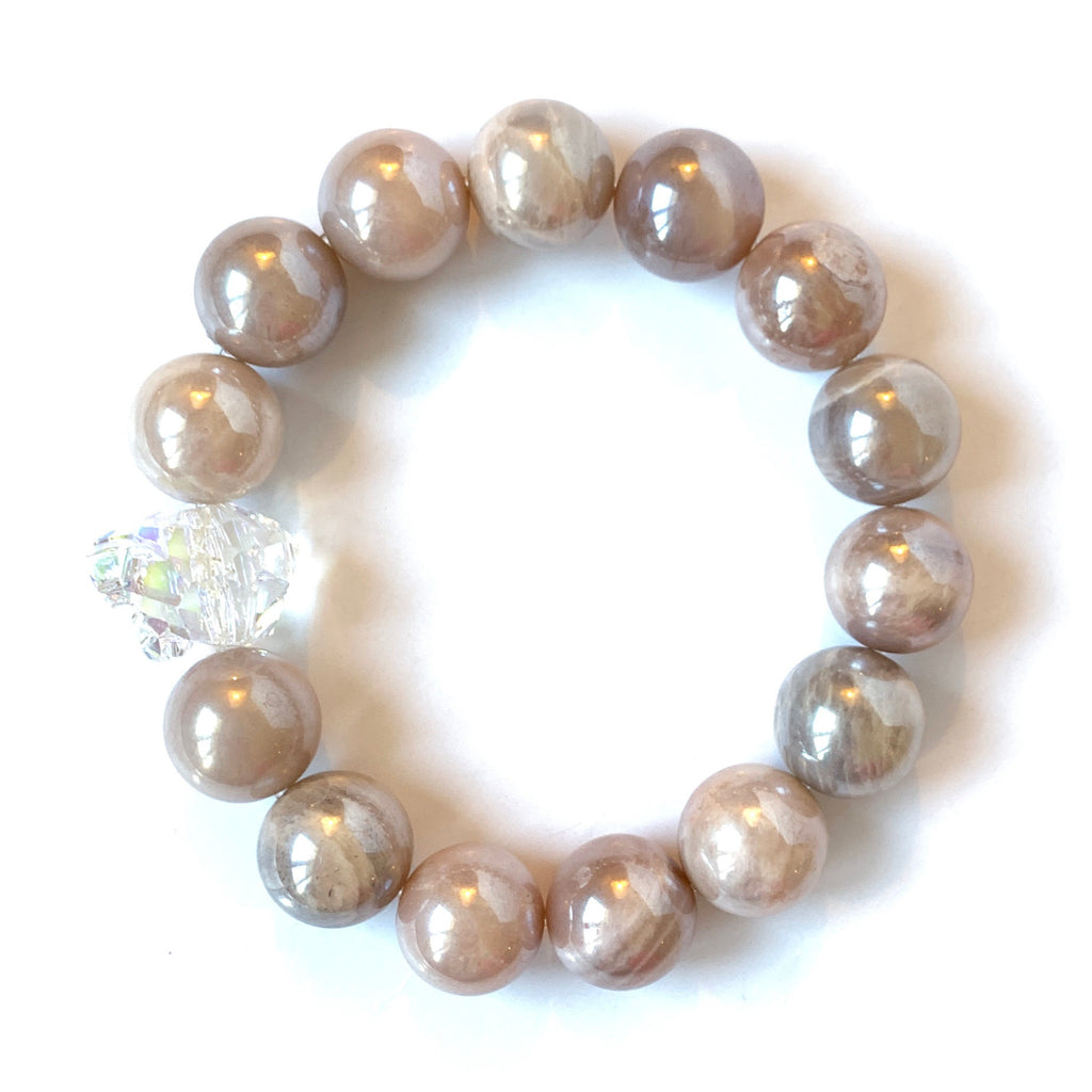 Solid Design Studios Swarovski Crystal Panther With Peach Moonstone Stretch Bracelet