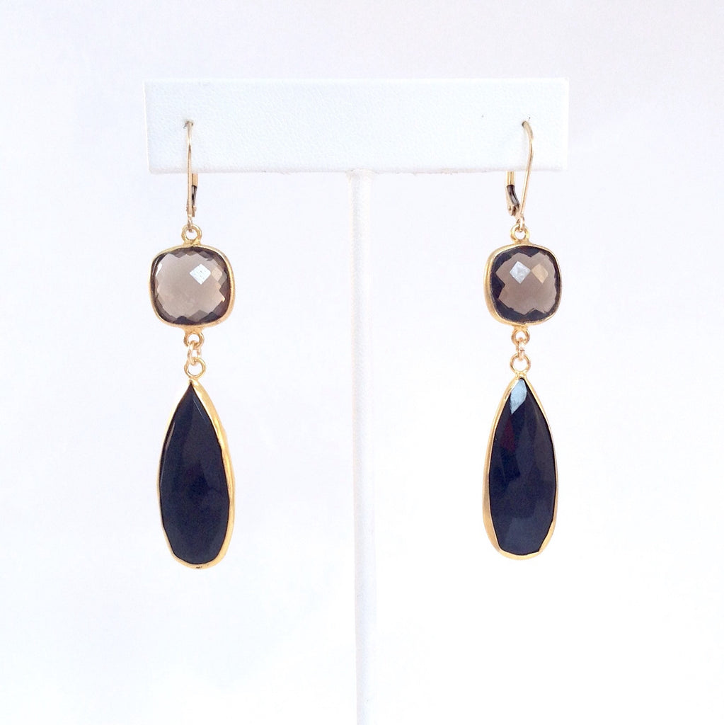 Solid Design Studios Smoky Quartz & Chalcedony Drop Earrings