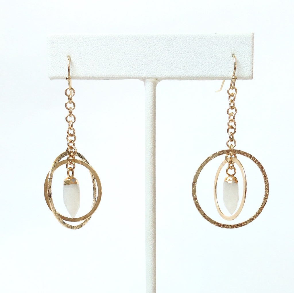 Solid Design Studios Earrings With Gold-Leafed Rainbow Moonstone Spikes