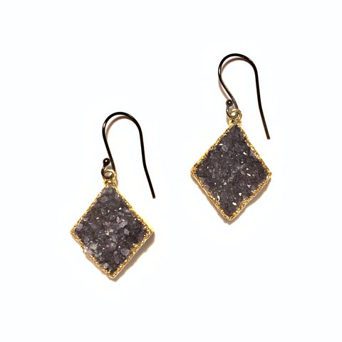 Solid Design Studios Amethyst Druzy Drop Earrings