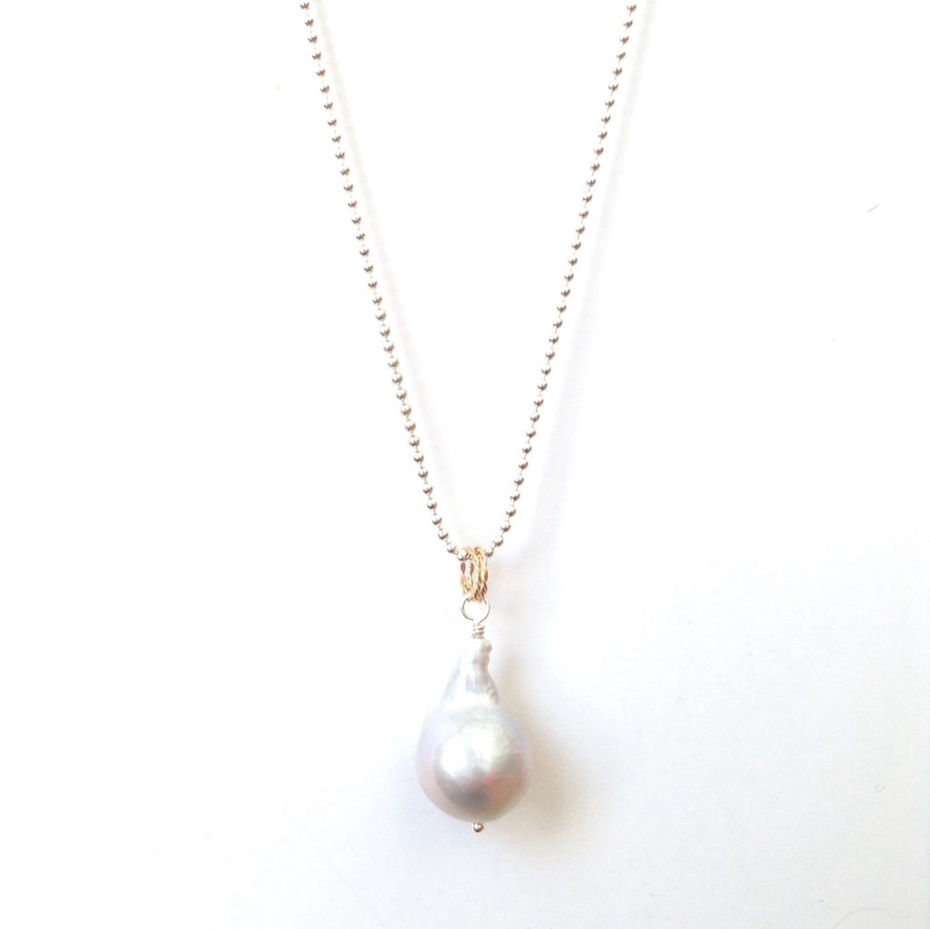Solid Design Studios Ultra Baroque Pearl Necklace - Ivory Pearl on 27-Inch Bright Sterling Chain