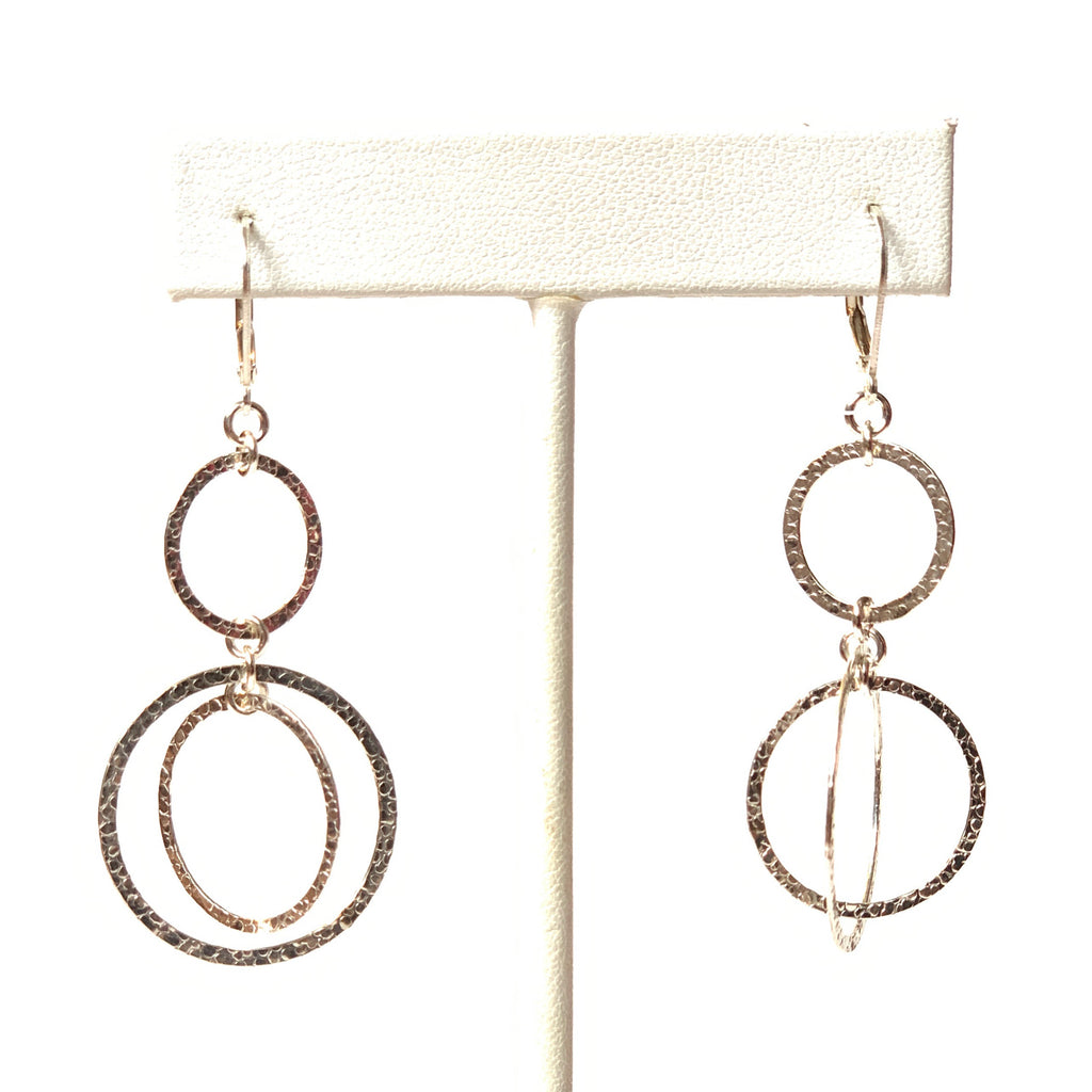 Solid Design Studios Sterling Silver Hammered Circle Kinetic Double Drop Earrings