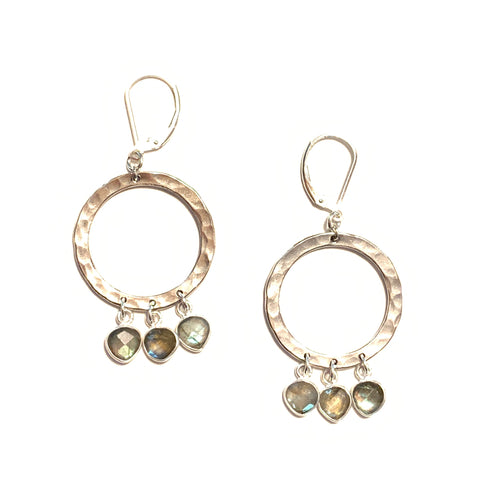 Solid Design Studios & Sterling Hammered Ring Chandelier Earrings