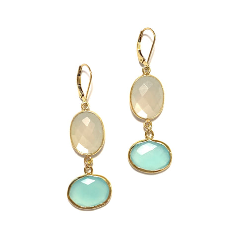 Solid Design Studios Moonstone & Seafoam Chalcedony Drop Earrings
