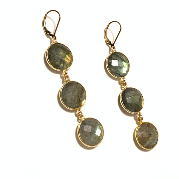 id Design Studios Labradorite Large Triple Disc Earrings