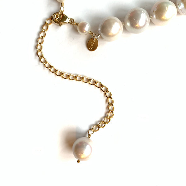 Solid Design Studios One-of-a-Kind Hand-Knotted Ultra Baroque Pearl Necklace With 14k Gold-Filled Rondelles