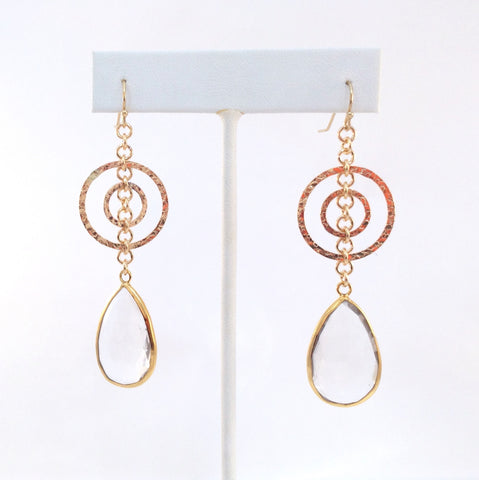 14k Gold-Filled Concentric Circle Earrings With Bezel-Set Crystal Quartz