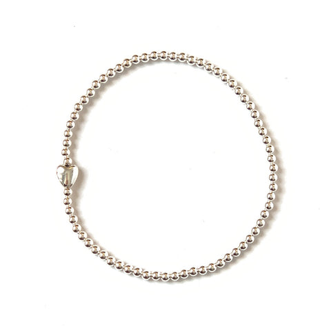 Solid Design Studios Sterling Silver Heart Stretch Bracelet