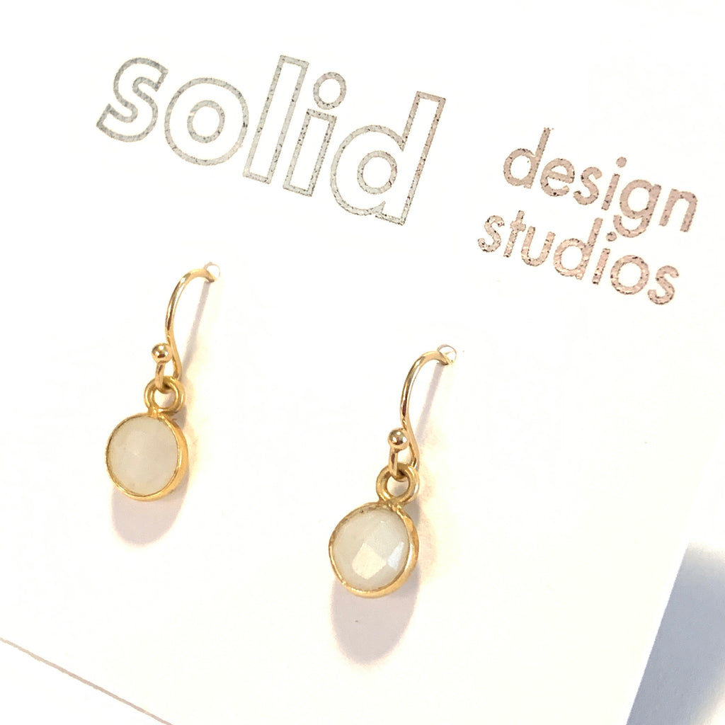Solid Design Studios Tiny Rainbow Moonstone & Gold Vermeil Bezeled Earrings