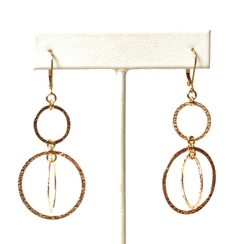 Solid Design Studios 14k Gold-Filled Hammered Circle Kinetic Double Drop Earrings