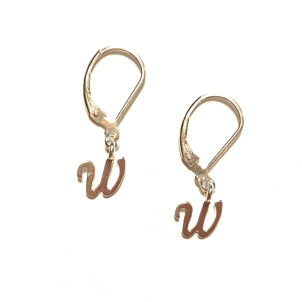 Solid Design Studios Initial Earrings – W – Sterling Silver
