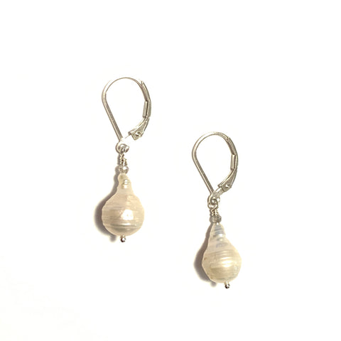 Solid Design Studios Small Ringed Baroque Pearl Earrings With Labradorite on Sterling Silver