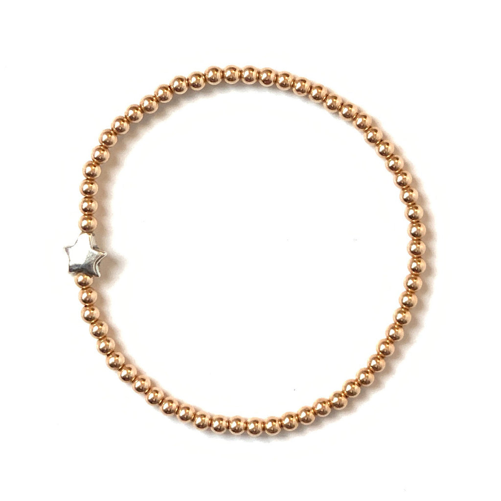 Solid Design Studios Sterling Silver Star & Rose Gold-Filled Stretch Bracelet