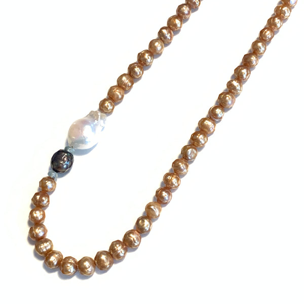Solid Design Studios Copper Faceted Freshwater Pearl Necklace With Ivory Ultra Baroque Pearl