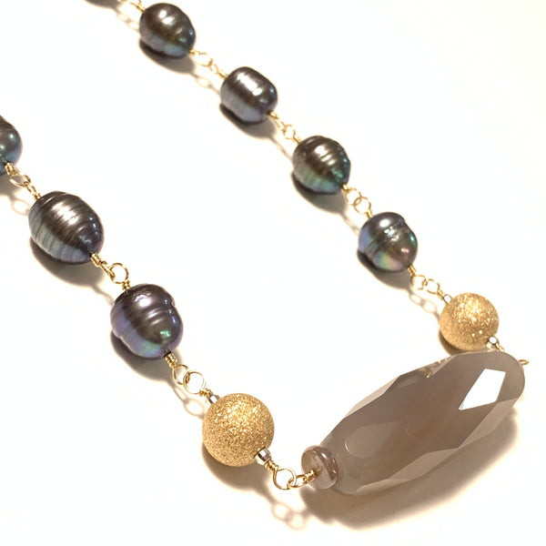Solid Design Studios Ringed Baroque Peacock Pearl, Grey Quartz & 14k Gold-Filled Short Necklace