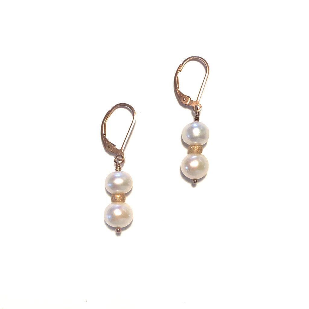 Solid Design Studios Double Button Pearl Earrings on Rose Gold Fill
