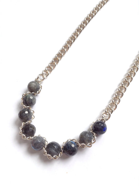 Abbott Sterling Chain & Faceted Labradorite Necklace