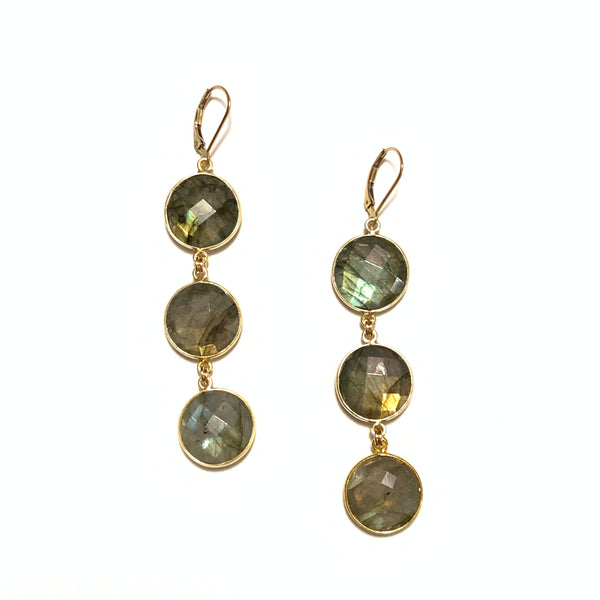 Solid Design Studios Labradorite Large Triple Disc Earrings