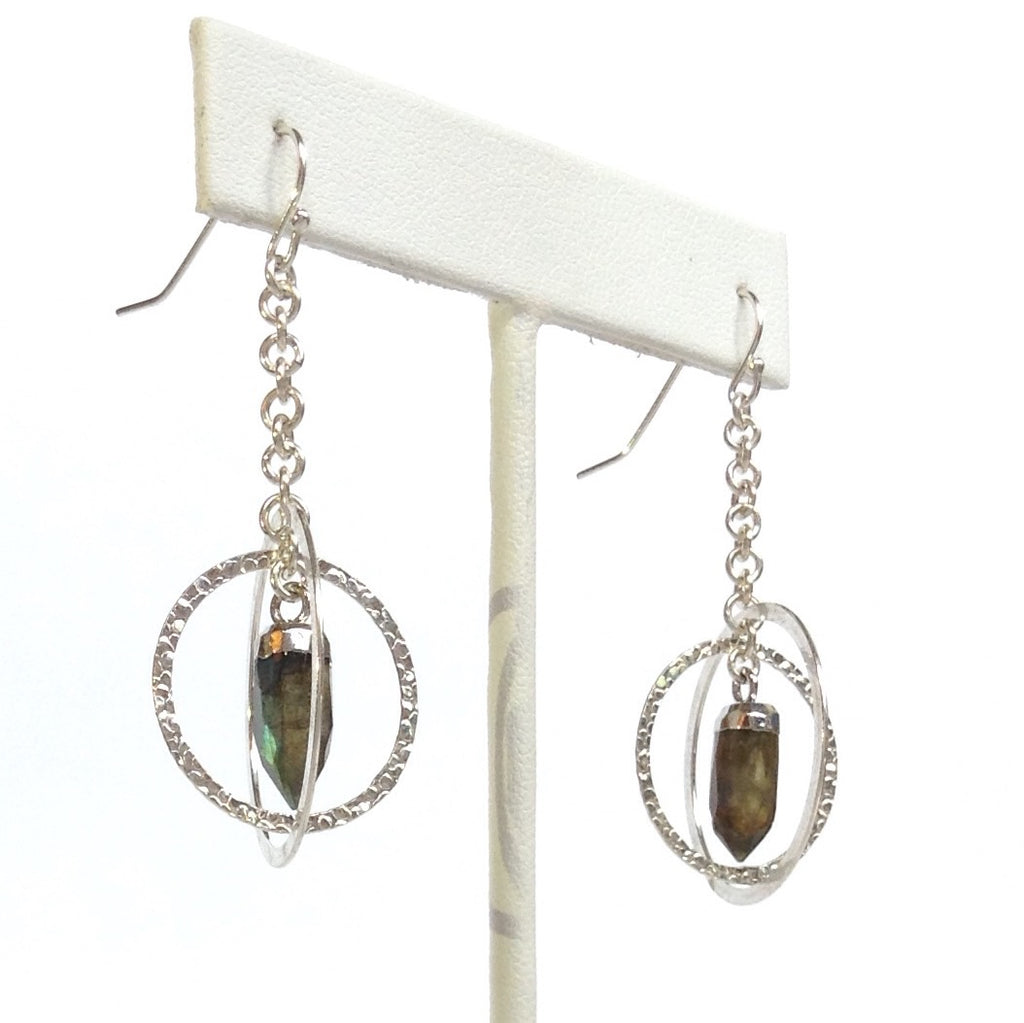 Solid Design Studios Sterling Silver Kinetic Earrings With Silver-Leafed Labradorite Spikes