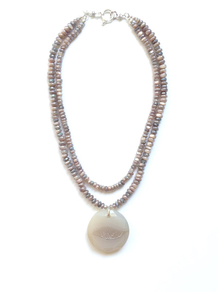 Strand Moonstone & Labradorite Necklace With Druzy Pendant