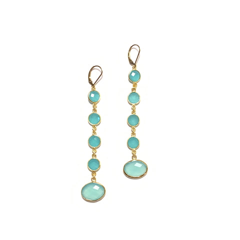 Solid Design Studios Seafoam Chalcedony Shoulder-Duster Earrings