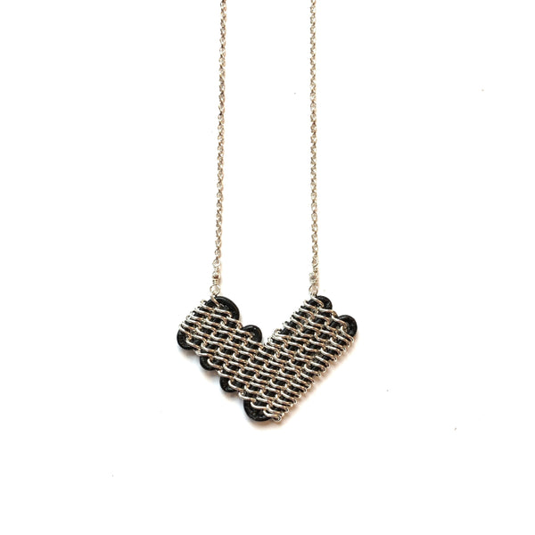 Solid Design Studios Annaway Sterling Silver & Black Leather Heart-Shaped Pendant Necklace