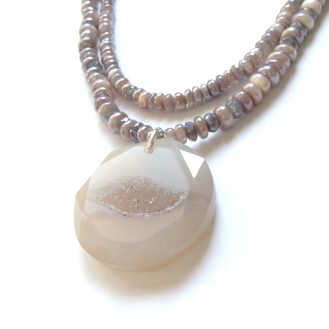 Solid Design Studios Double-Strand Moonstone & Labradorite Necklace With Druzy Pendant