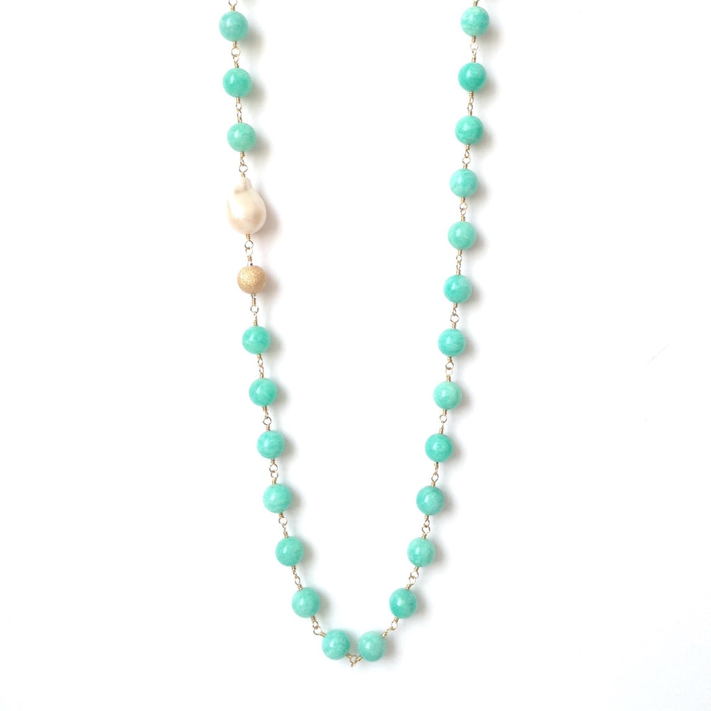 Solid Design Studios Ultra Baroque Pearl & Amazonite Necklace