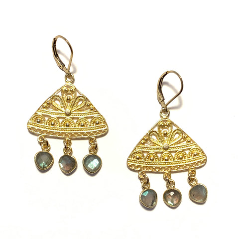 Solid Design Studios Labradorite Ornate Chandelier Earrings