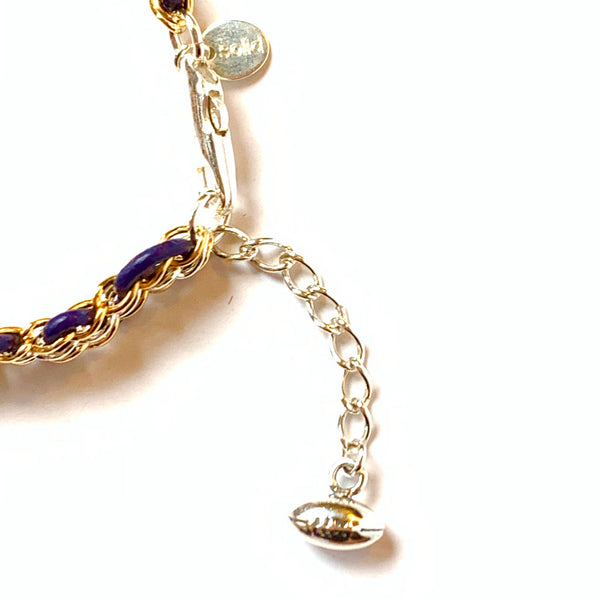 Solid Design Studios SPECIAL EDITION! Purple & Gold Cornelia Bracelet — 14 Karat Gold- Filled & Sterling Silver Chain on Indigo Leather