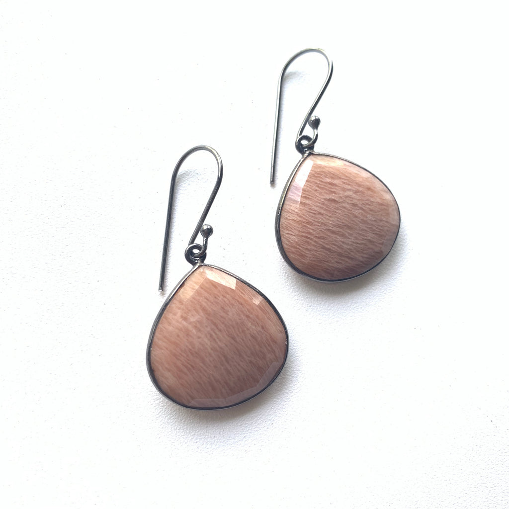 Sunstone Bezeled Drop Earrings