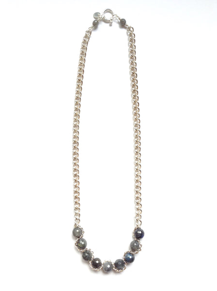 Solid Design Studios Sterling Silver Chain Necklace With Faceted Labradorite