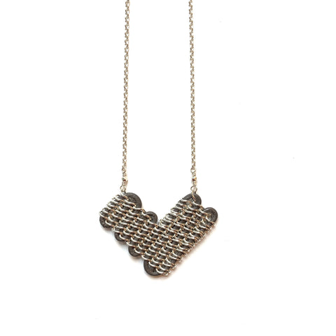 Annaway Sterling Silver & Grey Leather Heart-Shaped Pendant Necklace