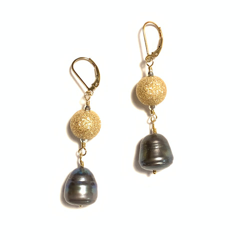 Solid Design Studios Ringed Baroque Peacock Pearl Earrings With Sparkly Gold-Filled Balls