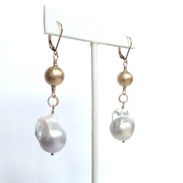 Solid Design Studios Ultra Baroque Pearl With Sparkly 14k Gold-Filled Ball Earrings