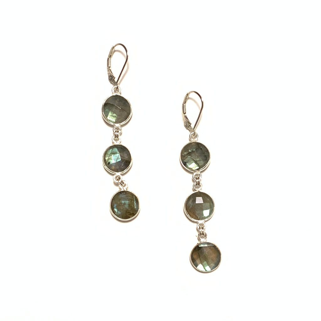 Solid Design Studios Labradorite Medium Triple Disc Earrings