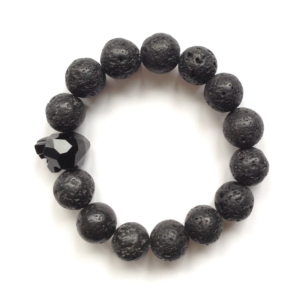 Solid Design Studios Swarovski Crystal Panther With Natural Lava Stone Stretch Bracelet