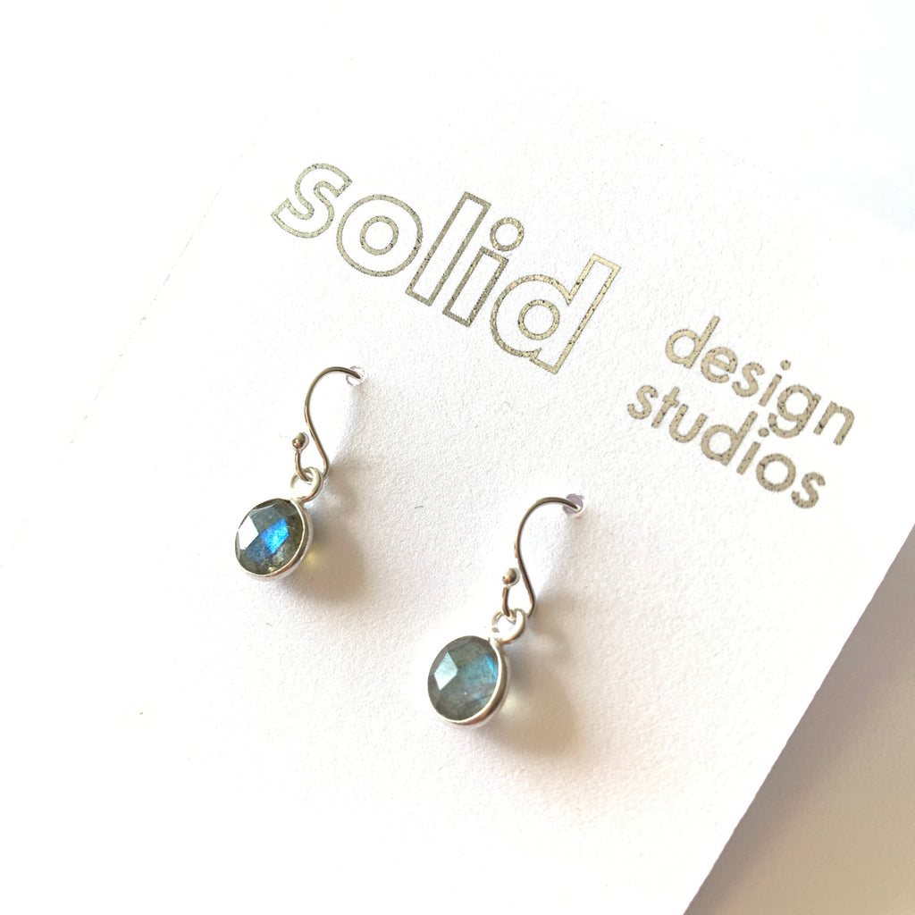 Solid Design Studios Tiny Labradorite & Sterling Silver Bezeled Earrings