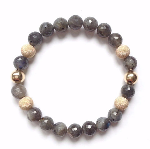 Solid Design Studios Faceted Labradorite & 14k Gold-Filled Stretch Bracelet I