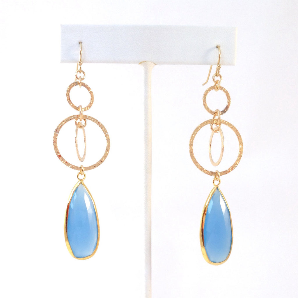 Solid Design Studios 14k Gold-Filled Kinetic Earrings With Bezel-Set Chalcedony