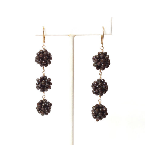 Blackberry Triple Drop Freshwater Pearl Earring