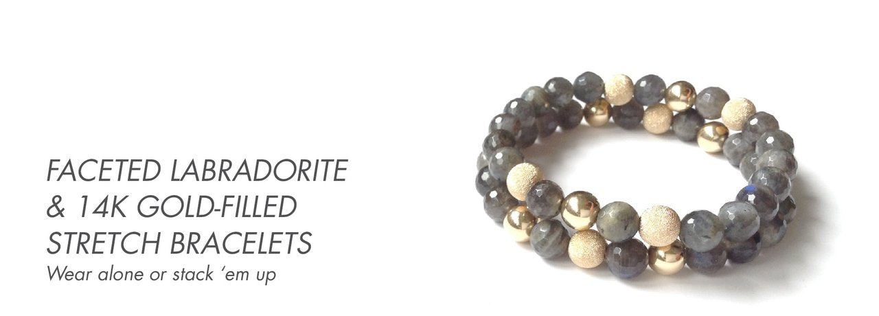 Labradorite & Gold-Filled Stretch Bracelets