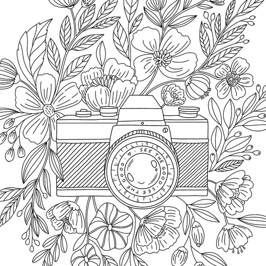 Floral Camera Coloring Page - Free Printable