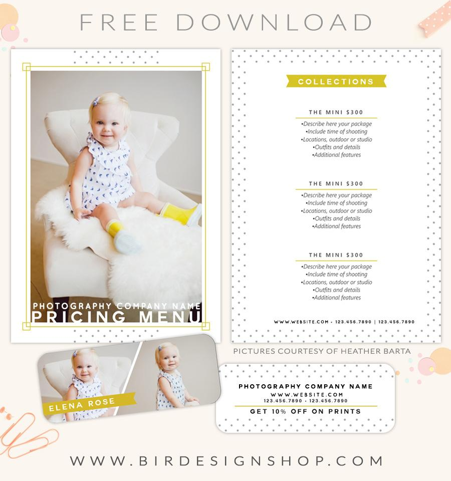 FREE Pricing Menu Template Birdesign - Free pricing template for photographers